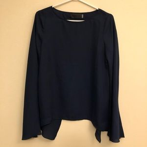 Blaque Label Bell Sleeve Open Back Blouse in Navy